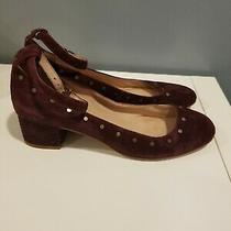 Madewell 8 Inez Burgundy Suede Studded Ankle Strap Low Block Heels Photo