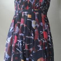 Madewell Abstract Printed Storybook Dress Silk Strapless Cocktail Party 0 198 Photo