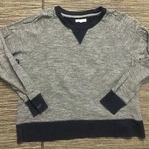 Madewell Adult Womens Medium Gray Navy Weave Sweatshirt B5962 Photo