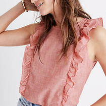 Madewell Bellflower Ruffle Top Blouse Women's Small S 100% Cotton Red Pink Photo