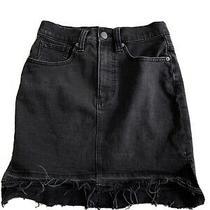 Madewell Black Denim Cut Off Jean Mini Skirt Size 24 Freshly Laundered Stretch Photo