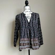 Madewell Black Floral 3/4 Sleeve v Neck Silk Top Size M Photo