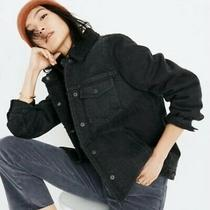 Madewell Black Oversized Sherpa Lined Denim Jacket Size Xs Photo