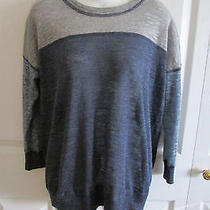 Madewell Blue and Gray Pullover Sweater Small Cotton Blend 3/4 Sleeves Photo