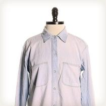 Madewell Blue Solid Collared Top Sz S Photo