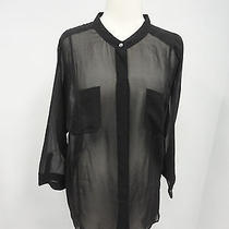 Madewell Broadway & Broome Sz Xl Black Silk Sheer Blouse  Photo
