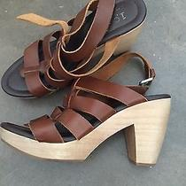 Madewell by J. Crew Brown Leather Sandals Heels Wood Chunky Wedges Sz 7 Photo