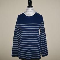 Madewell by J.crew Elbow Patch Stadium Sweater in Stripe New L Navy Grey  Photo