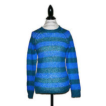 Madewell by J.crew Striped Mohair Sweater New Size M Jade Blue Lightweight Photo
