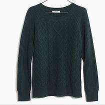 Madewell Cable-Front Sweater Xs Midnight Green Photo