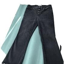 Madewell Cali Demi-Boot Jeans in Berkeley Black Chewed Hem Women Cropped 30 Photo