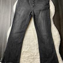 Madewell Cali Denim Boot Raw Hem Size 29 Black Crop Jeans Photo