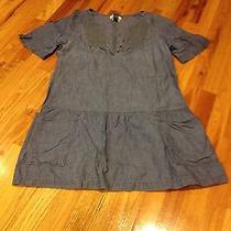 Madewell Chambray Medium Dress Denim Pockets Drop Waist M Photo