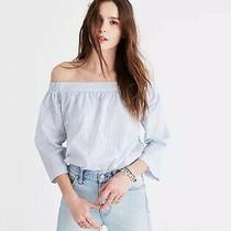Madewell Clean Off-the-Shoulder Top in Stripe Size Xs Photo