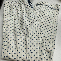 Madewell Cotton Poplin White W/ Blue Polka Dots Lounge Pj Sleepwear Pants Sz L Photo