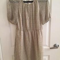 Madewell Cream Creme and Black Patterned Short Sleeve Silk Dress Sz. 8 Photo