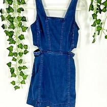 Madewell Denim Cutout Mini Dress Sleeveless Square Neck Side Pockets Blue Size 2 Photo