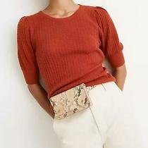 Madewell Etruscan Clay Orange Pointelle Puff-Sleeve Sweater Tee Wool/alpaca S Photo