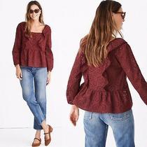 Madewell Eyelet Pom Pom Top Sz S Small Ruffle Blouse Shirt Top Floral Burgundy Photo
