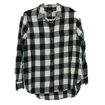 Madewell  Flannel Long Sleeve Shirt Sz S  E4760 True Black Plaid Checkered Photo