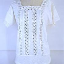Madewell for J Crew Off-White Starstitch Eyelet Shell Cotton Tee Tops 65.00 Xl Photo