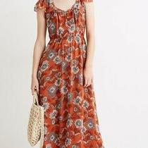 Madewell Gathered Blooms Sheer Flutter Sleeve Button Front Midi Dress Orange 4 Photo
