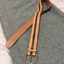 Madewell Genuine Leather Brown and Black Stripe Belt Xs Photo