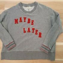 Madewell Grey Red Velvet Lettering Maybe Later Oversized Sweatshirt Medium Euc Photo