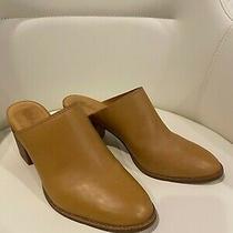 Madewell Harper Mule Size 8 Leather Wood Heel Tan Nude Beige Neutral Great Photo