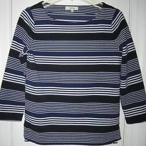 Madewell J. Crew Blue Striped 3/4 Length Top Size Small New Photo