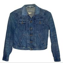 Madewell Jean Jacket Blue Cropped Waist Length Long Sleeve Trucker Jacket Size M Photo
