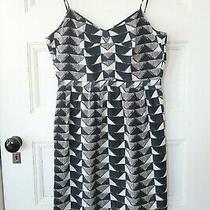 Madewell Lydia Silk Slip Dress 8 Blue Black Gray White Triangle Trio Mini Photo