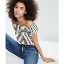 Madewell Melody Stripe Off Shoulder Top in White / Blue Women's Size S / Small Photo