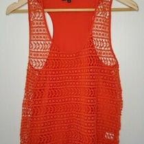 Madewell Orange Red Crochet Silk Tank Top Blouse Size M Photo