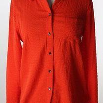 Madewell Orange Soft Swiss Dot Boyshirt Top M Photo