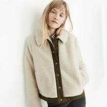 Madewell Portland Cozy Ivory Sherpa Short Coat Jacket Teddy Coat White Brown Photo