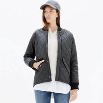 Madewell Quilted Bomber Jacket - True Black Size L  Photo