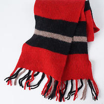 Madewell Red Black Taupe Striped Wool Scarf - Women's - New Nwt 52 Photo