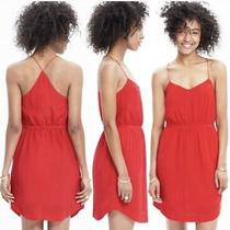 Madewell Red Starview Silk Dress 6 Photo