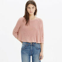Madewell Ribbed Knit Linen Cotton Swing Cropped Sweater in Blush Pink Size Xs Photo