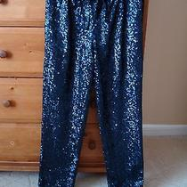 Madewell Sequin Drawstring Pants Sz Xs Navy Charcoal Sequins  Photo