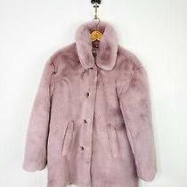 Madewell Shearling Faux Fur Coat Blush Pink Stagedoor Teddy Coat Large Photo