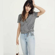 Madewell Short Sleeve Wrap Top in Gingham Check Sz Xs Black White Photo