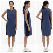 Madewell Side Zip Sheath Dress Women Size Medium Sleeveless Blue Stretch C0406 Photo