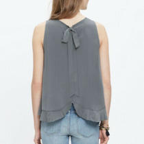 Madewell Silk Bow Pleated Tank Top Light Gray Size Small Photo