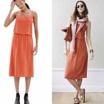 Madewell Silk Overlay Cami Dress Burnt Orange Sz 4 Photo