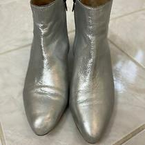 Madewell Silver Leather Booties Size 7 Photo