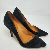 Madewell Size 8 Mira Heel Black Suede Classic Leather Photo