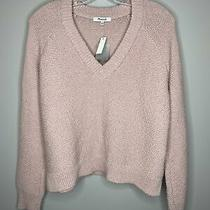 Madewell Size M Blush Pink v-Neck Crop Sweater Nwt Photo