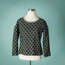 Madewell Size Xs Sweater Black White Polka Dot Long Sleeve Knit Marled Oversize Photo